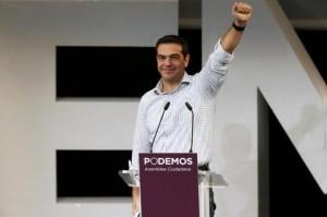 Alexis Tsipras la un miting al Podemos, în Madrid.