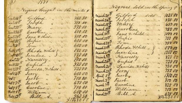 Registru de sclavi vânduți și cumpărați