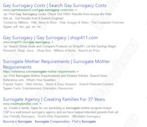 """Reclame la """"gay surrogacy"""" pe motoarele de căutare"""