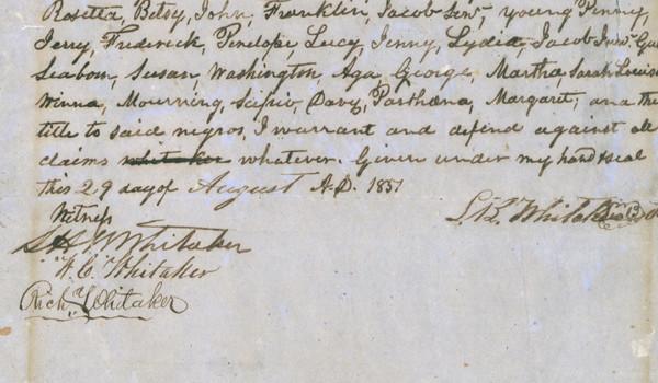 Contract de vânzare pentru un sclav